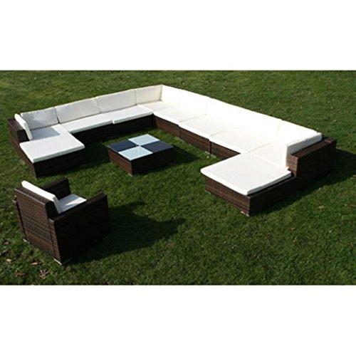 Nishore 12-TLG. Garten Lounge Set mit Auflagen Rattan-Lounge Esstisch Gartenmöbel-Set Sofa Garnitur Couch-Eck Outdoor Polsterstärke: 6 cm - 4