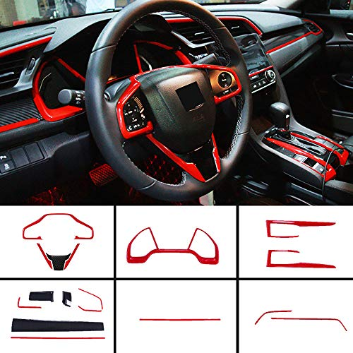 Boltry Full Set of Car Interiors Instrument Panel Decorative Center Console Moulding Trim Air Outlet Automotive Steering Wheel Cover Accessories 16Pcs for Honda 10th Civic 2016~2020-red