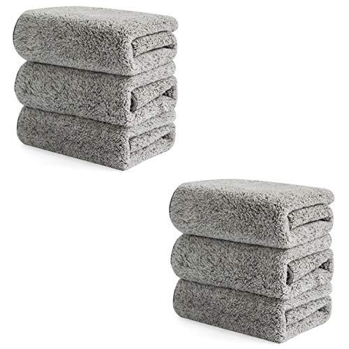 Camisin Paño de cocina grueso de fibra de bambú, absorbe el agua, sin pelusa, sin aceite, fácil de limpiar, 6 unidades