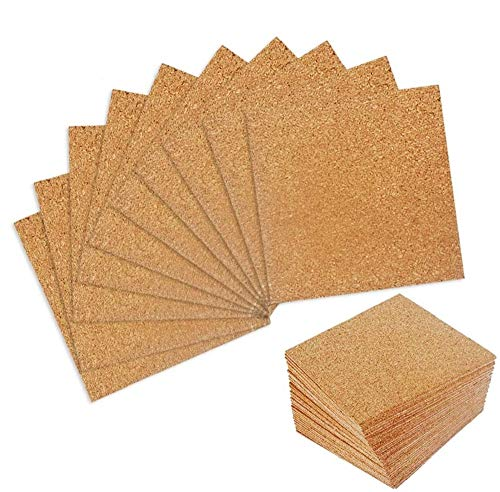 "50 Pack Self-Adhesive Cork Sheets 4""x 4"" for DIY Coasters, Cork Board Squares, Cork Tiles, Cork Mat, Mini Wall Cork Board with Strong Adhesive-Backed"