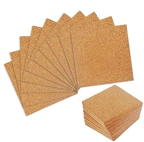 Paquet de 50 feuilles de liège auto-adhésives 4 'x 4' pour dessous de verre, carrés en panneau de liège, carreaux en liège, tapis en liège, mini panneau de liège mural avec endos adhésif puissant