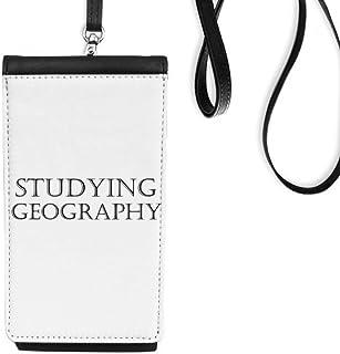 DIYthinkerShort Phrase Studying Geography Phone Wallet Purse Hanging Mobile Pouch Black Pocket