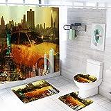ZDDWLDL Duschvorhang-Set Graubraun-Oranges Stadtauto Badezimmerteppich-Set 3D Gedruckter Duschvorhang Polyester Wasserdicht rutschfest Badvorleger WC-Deckelbezug 150x180 cm