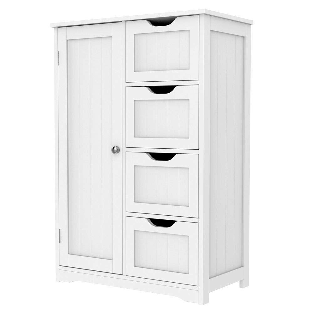 White 12 x 12 x 32 Tangkula Floor Cabinet Wooden Storage Cabinet Home Office Living Room Bathroom Side Table Sturdy Modern 4 Drawers Cabinet Organizer Bedroom Night Stand