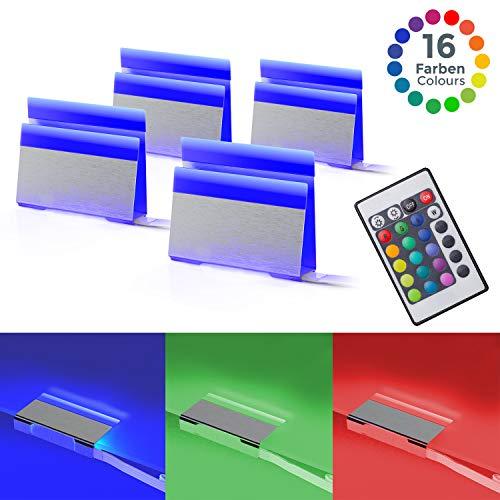 B.K.Licht LED Glasbodenbeleuchtung 4er Set LED Clips LED Vitrinenbeleuchtung Schrankbeleuchtung inkl. Fernbedienung RGB Funktion farbwechsel