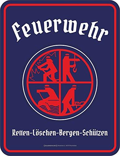 empireposter Feuerwehr Logo - Retten Löschen Bergen Schützen - Geprägter Blechmagnet - Größe 7x9