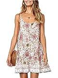 Womens Summer Boho Beach Dresses - Spaghetti Strap Floral Backless Deep V Neck A line Swing Lovely Beachwear White