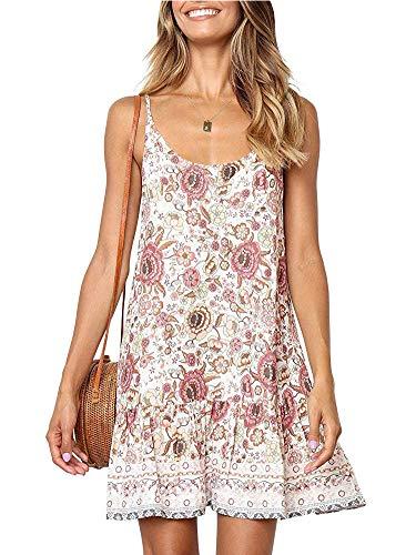 Womens Boho Beach Dresses - Spaghetti Strap Floral Printed Backless Deep V Neck A line Swing Lovely Beachwear White