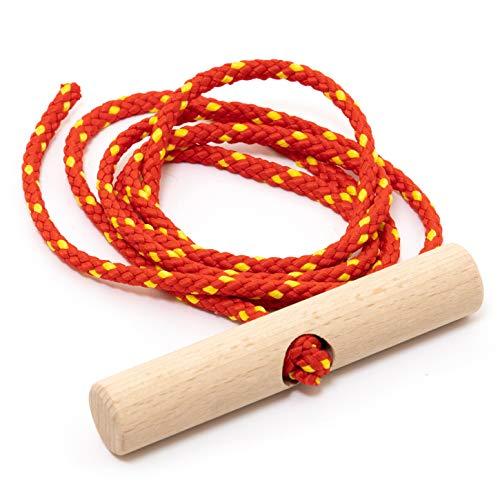 Holzfee Schlitten-Leine 135 cm Rot Gelb mit Buchenholz-Griff