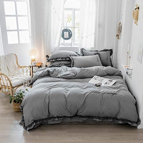 hdfj12146 bed sheets double,duvet cover double bed cottonKorean cute princess style four-piece 1.8m bed double lace quilt washed cotton small fresh bedding-gray_1.5m_4_piece_set