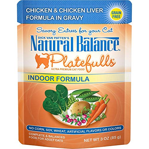 Natural Balance Platefulls Indoor Wet Cat Food, Chicken & Chicken Liver Formula in Gravy, 3 Ounce Pouch (Pack of 24)