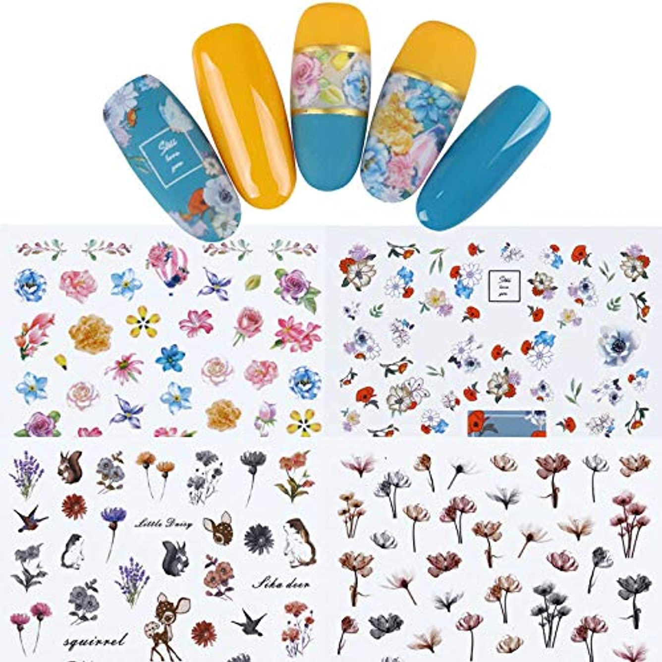 眉禁じるハーブFidgetGear 12枚の花3Dネイルアートステッカー接着剤転写のヒントマニキュア装飾