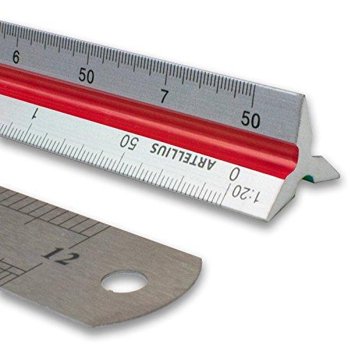 """Artellius 12"""" triangular engineer scale ruler (professional grade..."""