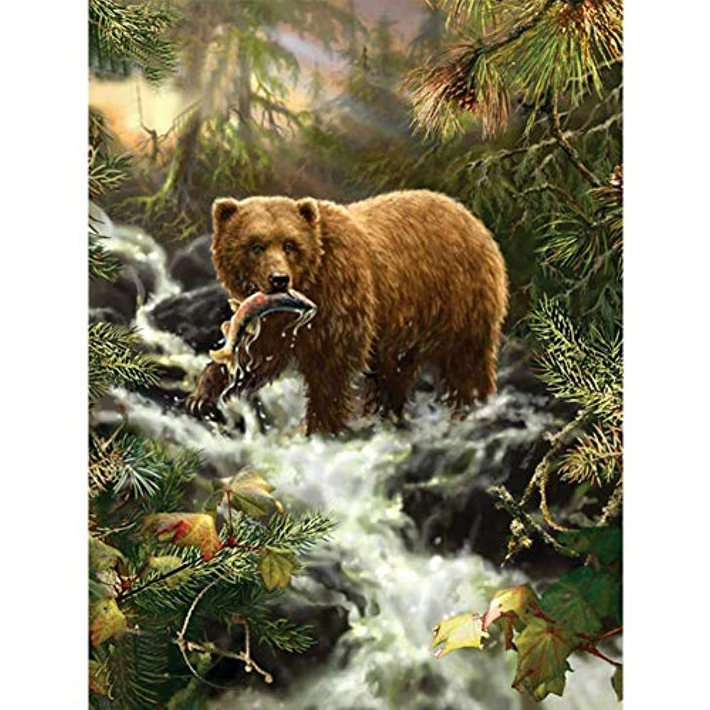 UPMALL DIY 5D Diamond Painting by Number Kits, Full Drill Crystal Rhinestone Embroidery Pictures Arts Craft for Home Wall Decoration Bear 11.8×15.7Inches