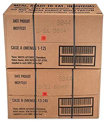 Sopakco 24ct US Military Surplus MRE Meals Ready to Eat 2021 Inspect A+B Case Bundle Menus 1-24