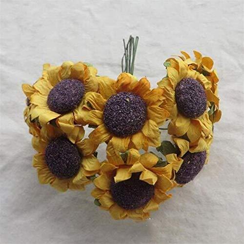Kunstblumen 30 Teile/los Künstliche Dekoration Sonnenblumen for geschenkbox DIY dekor Papier Blumen for Scrapbooking günstige Mini Daisy Grünpflanzen (Color : Yellow)