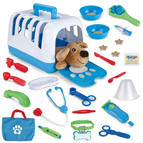 FUN LITTLE TOYS 34 PCs Pet Care Play Set, Vet Clinic and Cage Doctor Kit for Kids, Pet Veterinarian Playset
