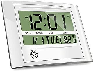 HeQiao Brushed Aluminum Digital Wall Clocks (Luxury Silver)