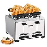 Tostapane Automatico a 4 fette - Acekool Tostapane per Toast Acciaio Inox, 7 Livelli di Doratura, Funzione Riscaldamento, Scongelamento e Annulla, Vassoio briciole, High-Lift, 1500 W, Argento