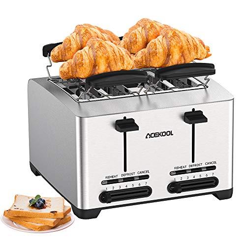 tostapane 1500w Tostapane Automatico a 4 fette - Acekool Tostapane per Toast Acciaio Inox