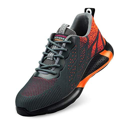 Zapatos de Seguridad S3 para Hombre Zapatillas Zapatos de Mujer Seguridad de Acero Ligeras Calzado de Trabajo para Comodas Unisex Zapatos de Industria y Construcción (Naranja 39)