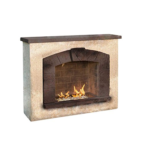 Outdoor Great Room Stone Arch Gas Fireplace with Stucco Finish
