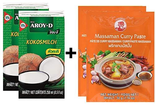Paquete de 2 AROY-D Leche de coco [2x 250ml] Cocosmilc - Leche de coco + Cock Curry Paste 50g Matsaman (2x50g)