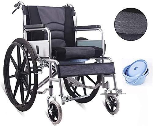 JFFFFWI Verdickter Kohlenstoffstahl Klappbarer Rollstuhl für behinderte Menschen mit Toilette, selbstfahrender Leichter Rollstuhl mit Bremsen, tragbarer Transit-Reisestuhl mit Beckengurt