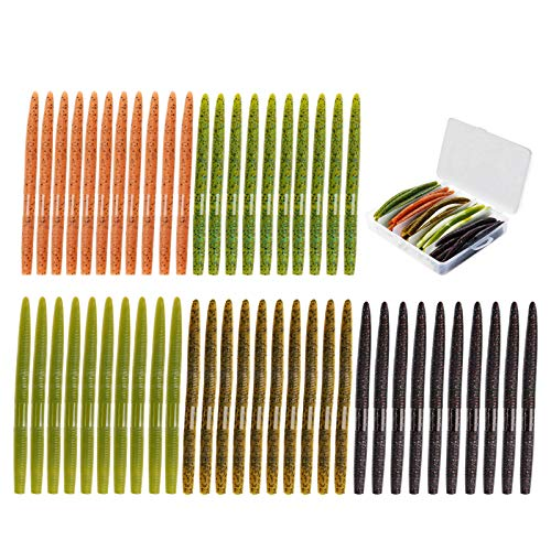 WIISHFIISH Senko Worms Soft Plastic Fishing Lures Fishing Worms Japan Formula Eco-Friendly Material Freshwater Saltwater Bass Fishing Lures Kit Proven Colors with a Portable Box(50pcs)