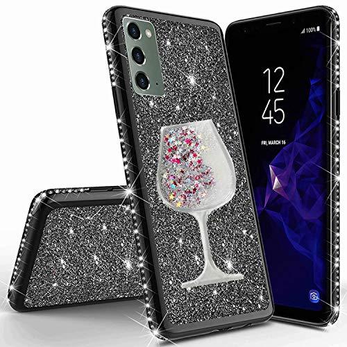 Miagon pour Samsung Galaxy Note 20 Bling Coque,Créatif Flottant Sable Vin Coupe Désign Diamant Doux Silicone Galvanoplastie Bling Protecteur Housse Cas de Protection