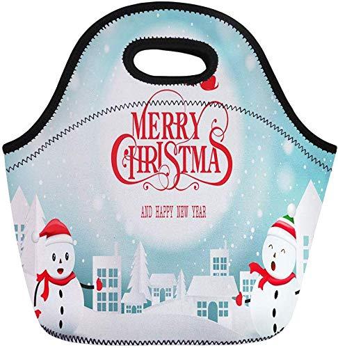 haoqianyanbaihuodian Bolsas de almuerzo rojas Feliz Navidad y Feliz Año Nuevo Bolsa de almuerzo de neopreno, bolsa de almuerzo portátil bolsa de picnic bolsa de nevera