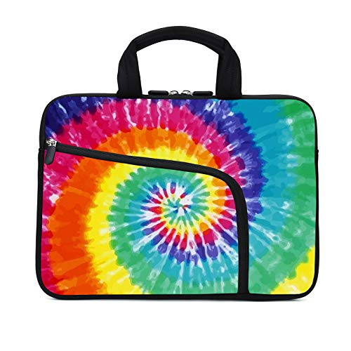 11.6 12 12.1 Inch Laptop Sleeve Carrying Bag Protective Case Neoprene Sleeve Tote Tablet Cover Notebook Briefcase Bag with Handle Extra Pockets for Women Men(Rainbow,12')