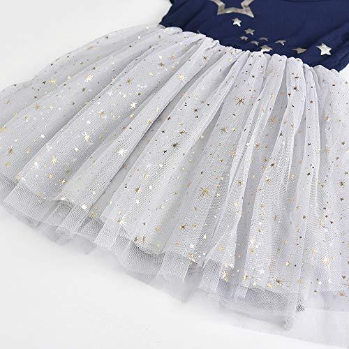 VIKITA Vestido Patrón de Mariposa Unicornio Algodón Tulle Tutu Manga Corta Niñas SH4581 8T