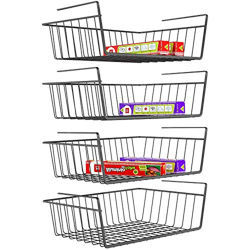iSPECLE Under Shelf Basket, 4 Pack Wire Rack, Slides Under Shelves for Storage, Easy to Install, Black