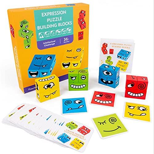 N\A Puzzle di Espressione in Legno Blocchi di Costruzione Divertenti Emoji Puzzle Cube con 50 Carte per L'allenamento del Pensiero Logico Giocattoli Educativi per La Prima Infanzia A