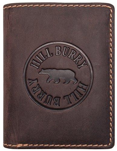 Hill Burry Geldbörse Herren Leder | Großes Portemonnaie aus echtem Leder | Hochwertiger Geldbeutel mit RFID-Schutz - Hochformat (Dunkel Braun)