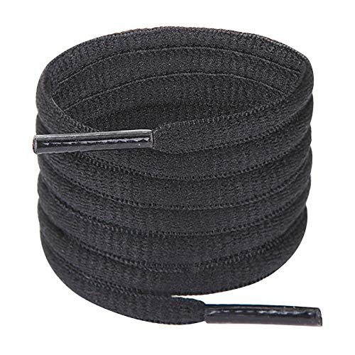 Handshop Half Round Shoelaces 1/4quot  Oval Shoe Laces Replacements For Sneakers and Athletic Shoes Sports Black 37 inch 94cm