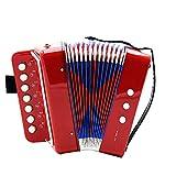 ETbotu 7-Key 2 Bass - Mini fisarmonica educativa per bambini, rosso