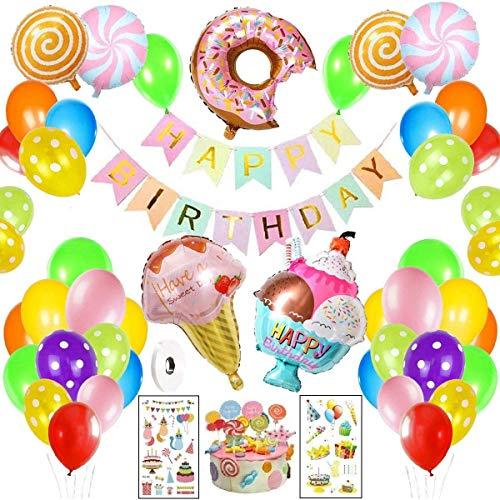 Decoraciones fiesta Cumpleaños Candyland-WENTS Fiesta de cumpleaños con pancarta de feliz cumpleaños, Caramelo Donut Helado Globo De Aluminio para niñas niños mujeres Candyland Lollipop Party