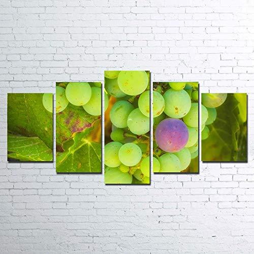 Decoración 5 Paneles Pintura Mural Impresa Paisaje del Valle de Temecula de uvas verdes púrpuras Cuadro sobre Lienzo 5 Piezas Modernos Mural Arte Fotos Salon Dormitorio Decoracion Pared 5 Piezas Mural