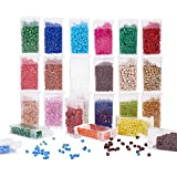 PandaHall - Cuentas de cristal con forma de poni, 2640 unidades, 24 colores, 5 x 4 mm, cilíndricas de cristal arco iris, para trenzas, pulseras, collares, joyas, manualidades