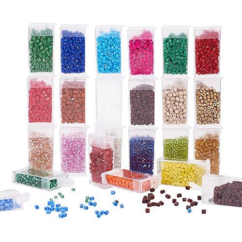 PandaHall Cuentas de semilla de Vidrio, 2640 Piezas de 24 Colores de 5 x 4 mm cilíndricas de Cristal Arco Iris de la Cintura, Cuentas para Trenzas de Pelo, Pulseras, Collares, Joyas, Manualidades