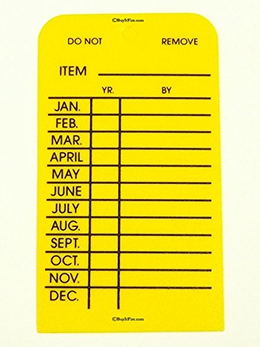 Fire Extinguisher Monthly Tag Yellow Plastic 25 Pack