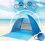 Tente de Plage, Xndryan Pop-up Tente Automatique Abris de Plage Anti UV 50 +, Installation Facile, Portable, Costume Pour 2 ou 3 Personnes - Résistant Aux UV