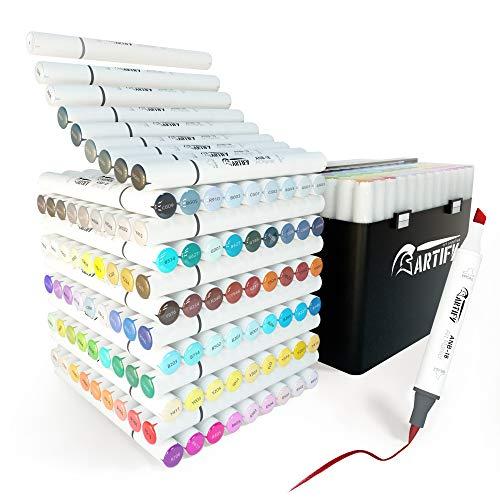 ARTIFY 108 Juego de rotuladores de pincel de color , rotuladores de doble punta a base de alcohol (pincel y cincel) con ilustración para colorear de licuadora para artistas