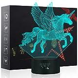Unicornio Lámpara, Luz nocturna 3D, Lampara LED para niños, 7 colores de iluminación de escritorio táctil con USB, El mejor regalo de los niños