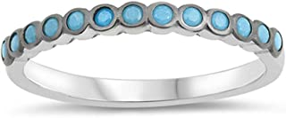 Simulated Turquoise Accent Round Stackable Ring New .925 Sterling Silver Band Sizes 4-10