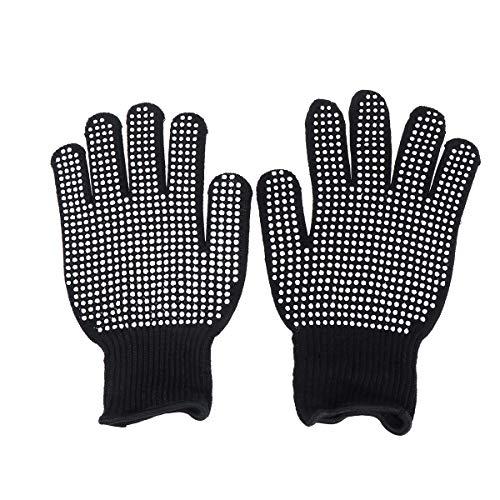 guanti per piastra capelli Beaupretty Guanti Resistenti al Calore Guanti da Forno per Styling dei Capelli Blocco Termico per Il Curling (Nero)
