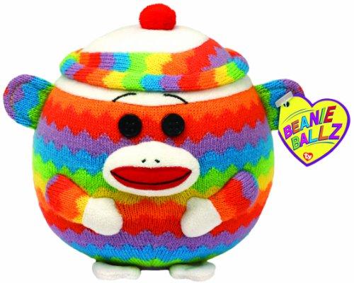 TY 7138043 - Socks Ball - Sockenaffe Regenbogen, 12 cm, Beanie Ballz