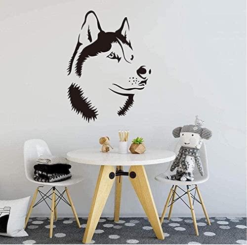 Etiqueta engomada del arte de la pared calcomanía de vinilo para pared Husky perro cabeza dormitorio habitación de los niños dibujos animados Husky cachorro mascota pegatina 75Cmx56Cm